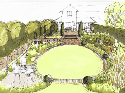 Manchester garden - coloured garden sketch drawn by Caroline Benedict Smith