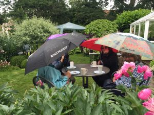 Umbrellas go up - Open Garden Cheshire - Caroline Benedict Smith Garden Design Cheshire